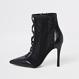 4a1e3cd0f888 Black mesh stiletto heel ankle boots