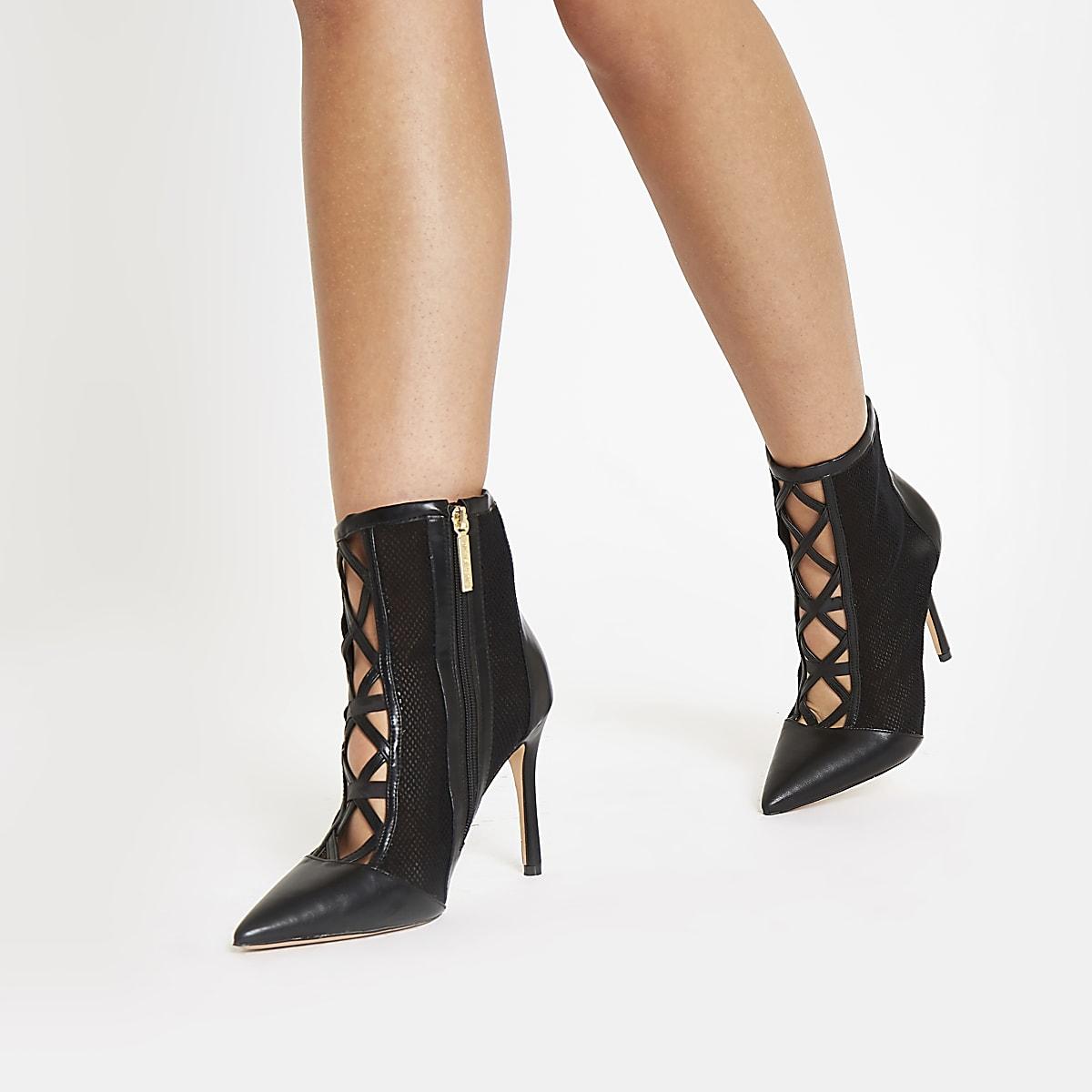 dc395dc4e703d1 Bottines à talon aiguille en tulle noir - Bottes - Chaussures ...