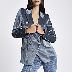 Blaue, zweireihige Smoking-Jacke