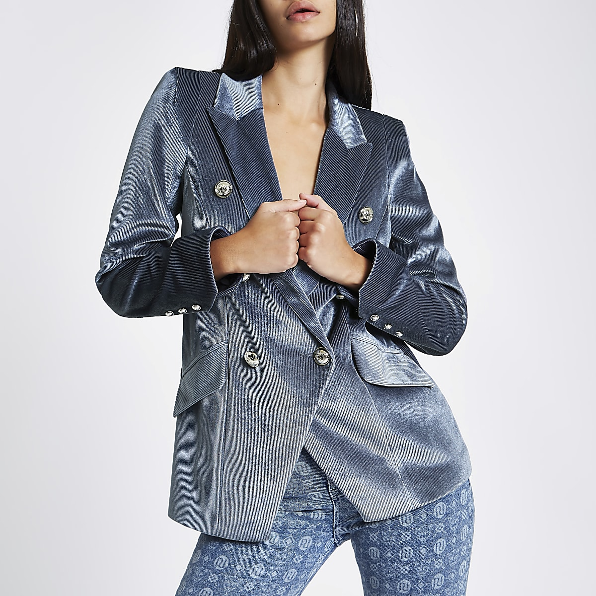 Blue cord double breasted tux jacket