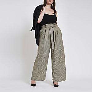 Plus – Pantalon large à carreaux gris avec taille haute ceinturée