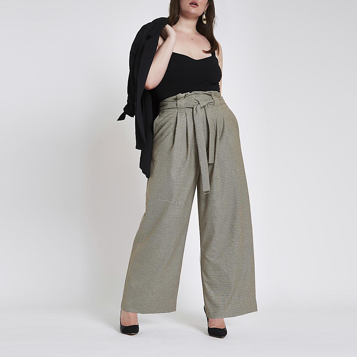 Plus grey check paperbag wide leg pants