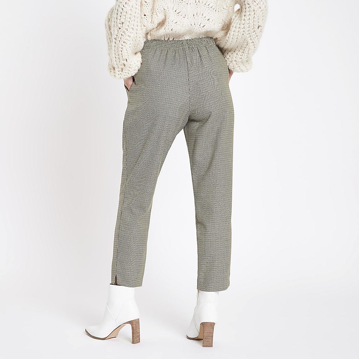 27530921abfa25 Petite grey check tie waist tapered trousers - Tapered Trousers - Trousers  - women