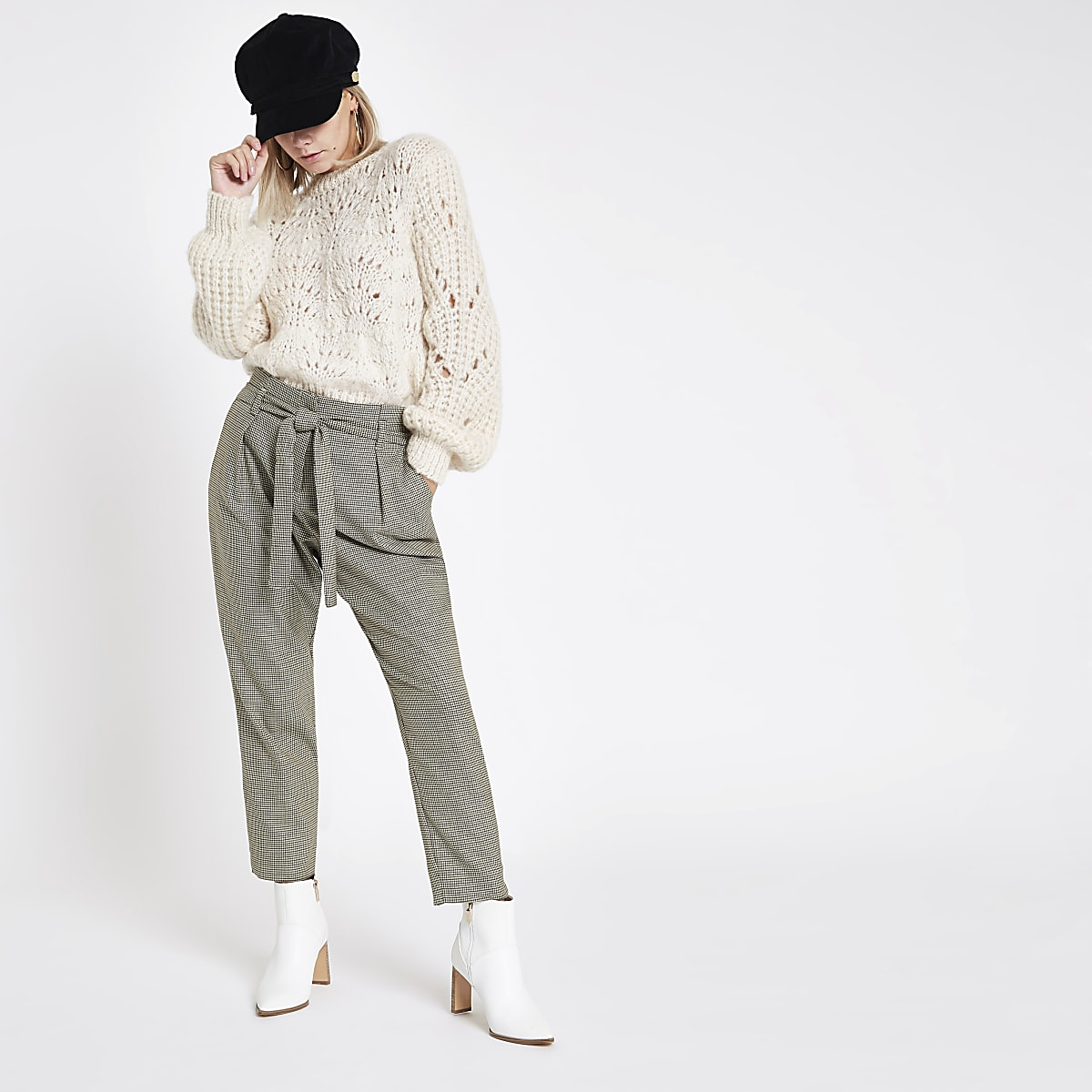 Petite grey check tie waist tapered pants