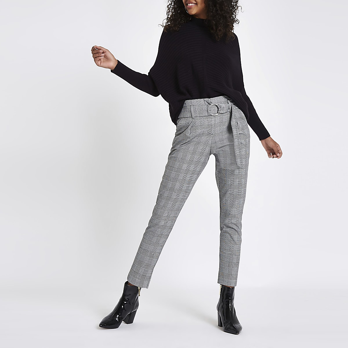 Black check ring belt peg trousers