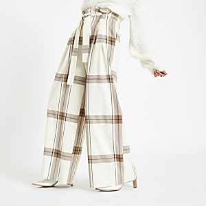 Cream check paperbag waist wide leg trousers