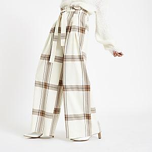Cream check paperbag waist wide leg pants