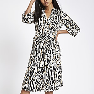 Petite beige leopard print shirt dress