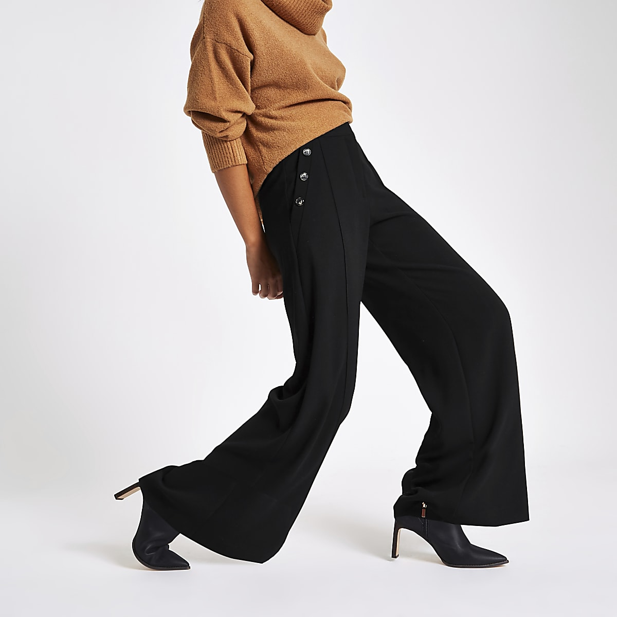 Black button wide leg trousers