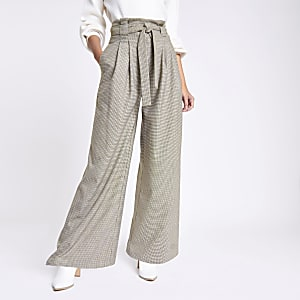 Khaki check wide leg belted trousers