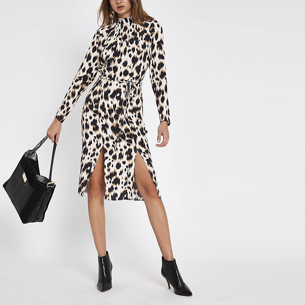 Beige leopard print tie waist midi dress