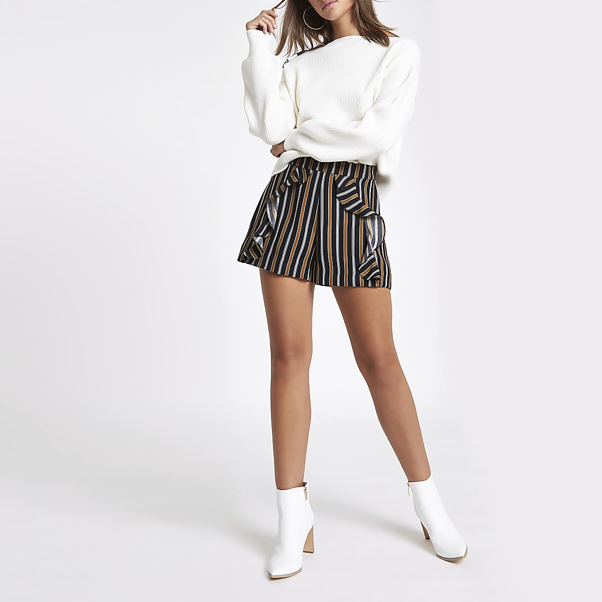 Navy stripe frill front shorts