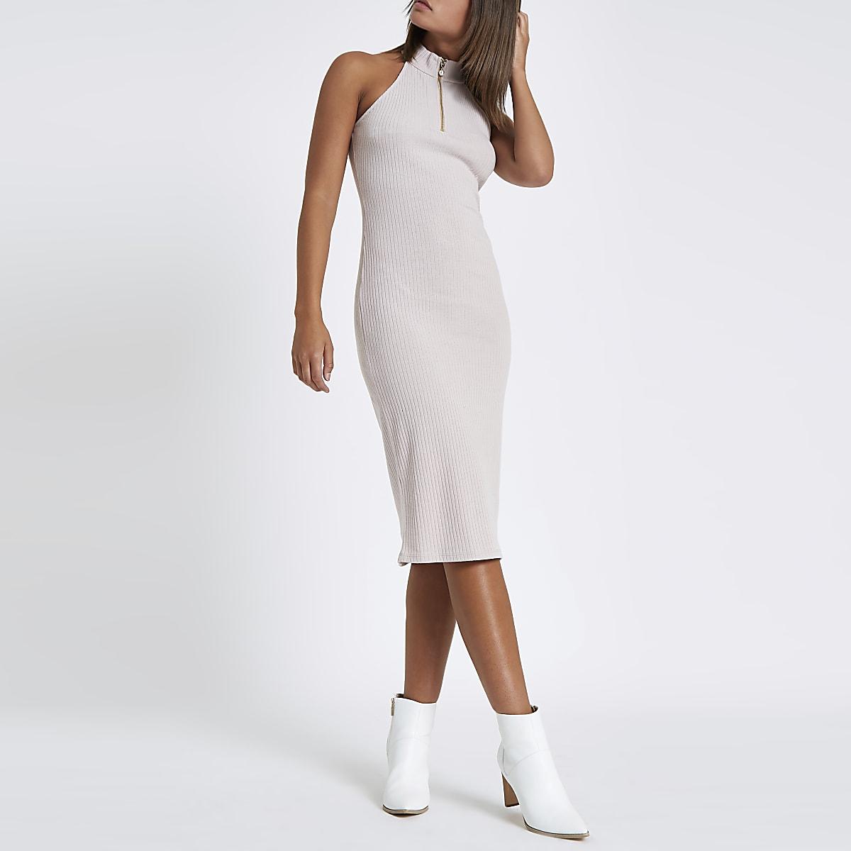 Beiges Neckholder-Bodycon-Kleid