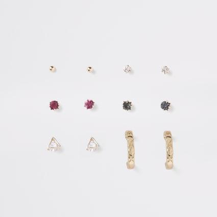 Diamante gold colour earring multipack