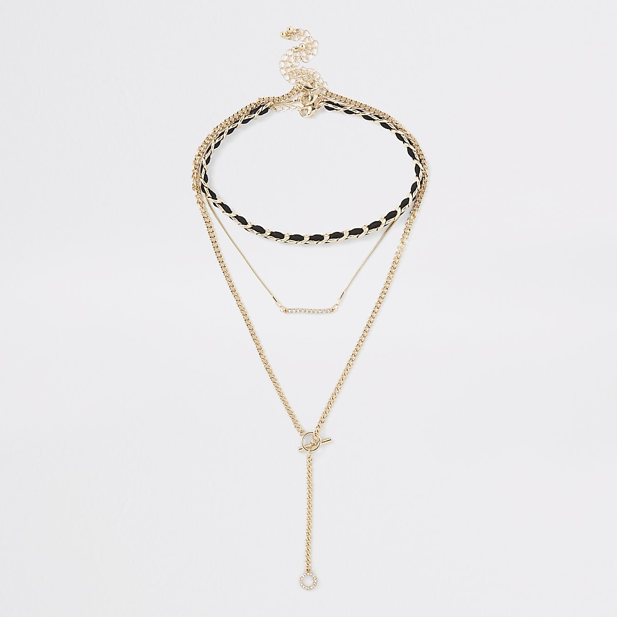 Gold color black thread necklace pack