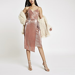 Pink metallic plisse tie waist midi dress