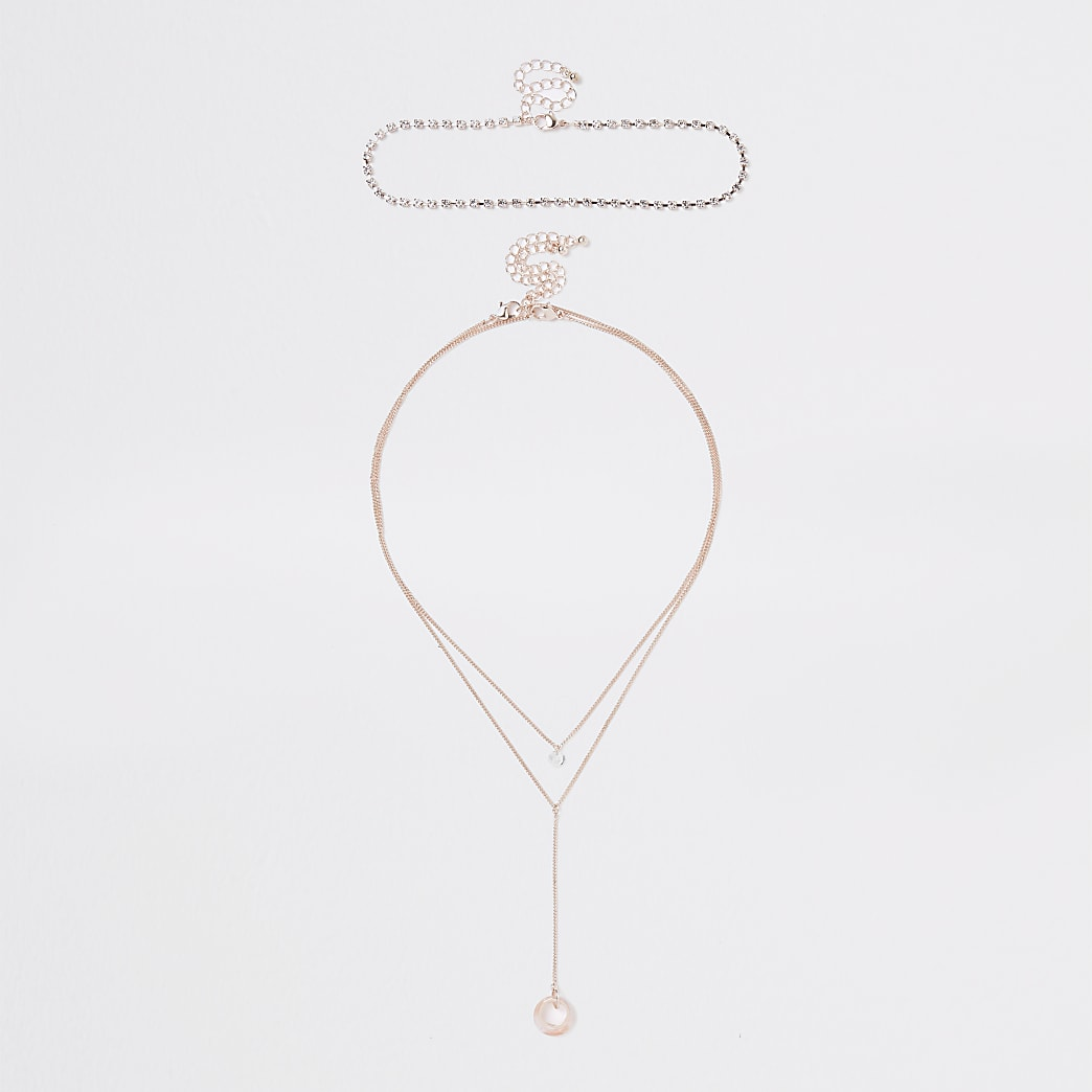 Rose gold tone circle layered necklace set
