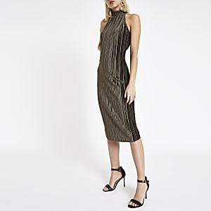Dark green plisse high neck bodycon dress
