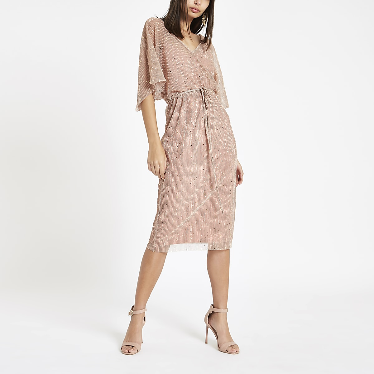 2259a2b8fb8 Pink metallic kimono sleeve midi dress - Swing Dresses - Dresses - women