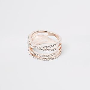 Rose gold colour diamante double kiss ring