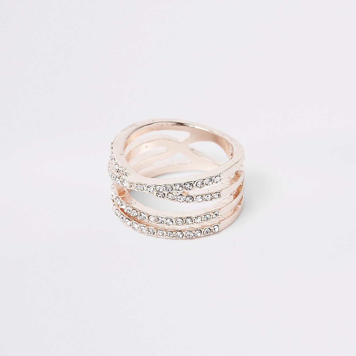 Rose gold colour diamante double kiss ring