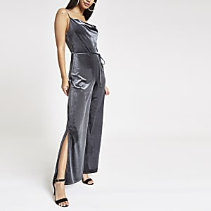 Grey velvet cowl neck wide leg jumpsuit