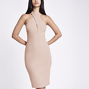 Pink jersey cross neck bodycon dress