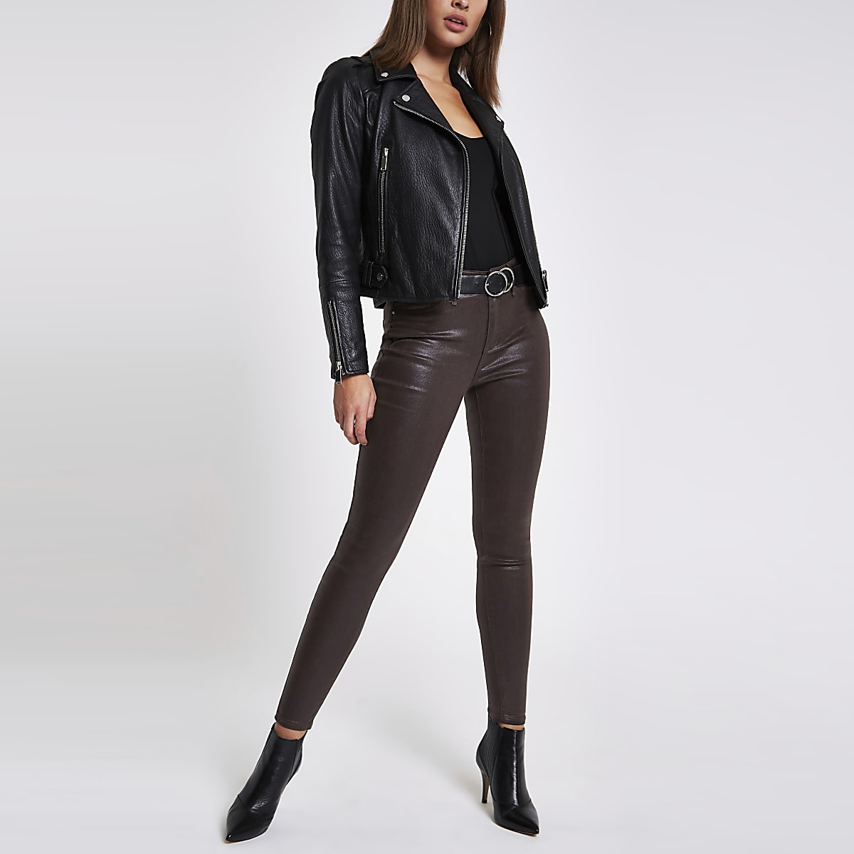 Burgundy Molly coated mid rise jeggings