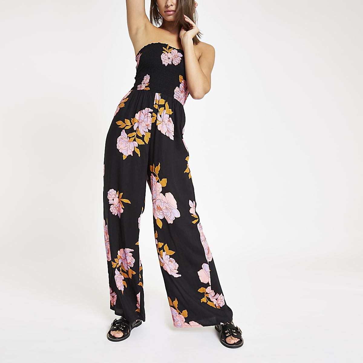 Black floral bandeau shirred beach jumpsuit