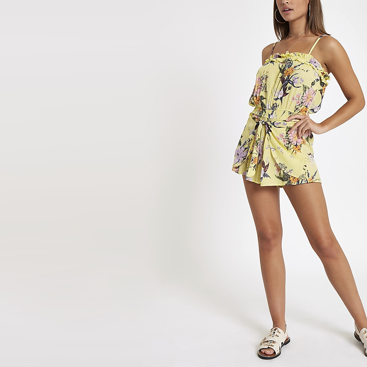 Yellow floral tie beach romper