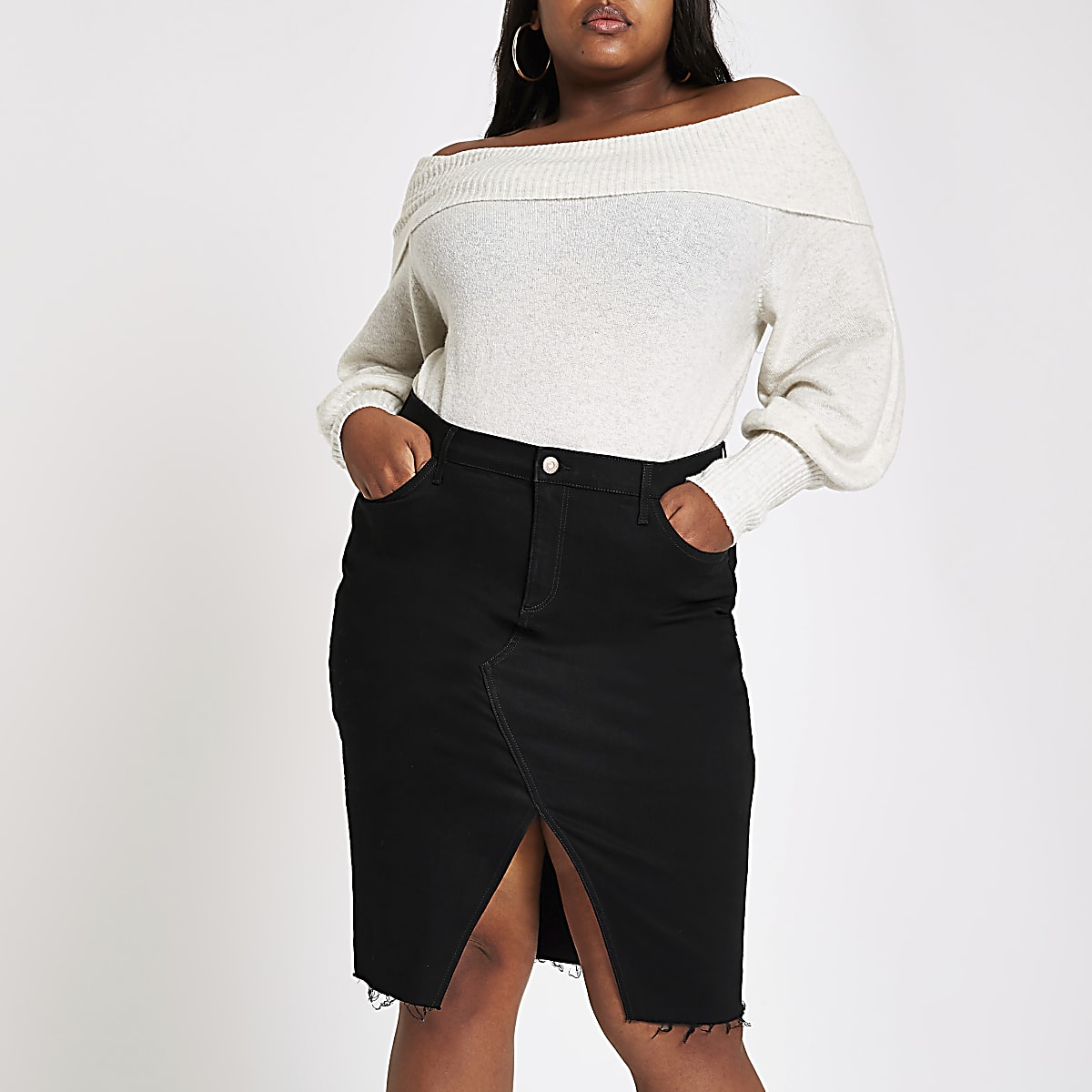 3dab4157b8 River Island Black Denim Pencil Skirt