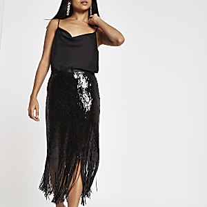 Petite black sequin tassel trim pencil skirt