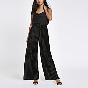 Petite black plisse wide leg pants