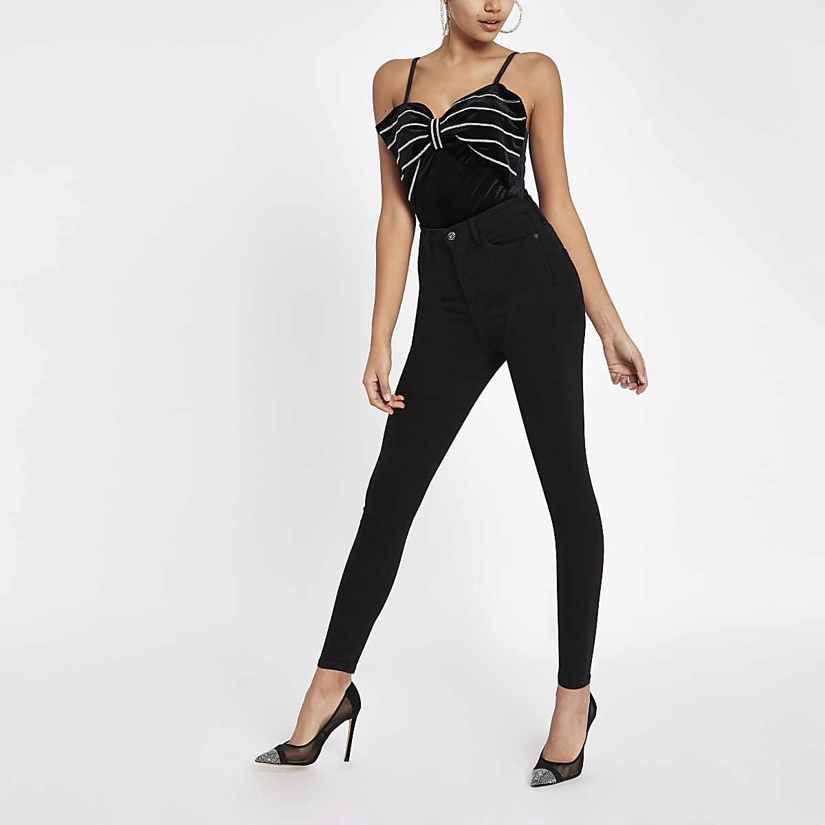 Black diamante bow bodysuit