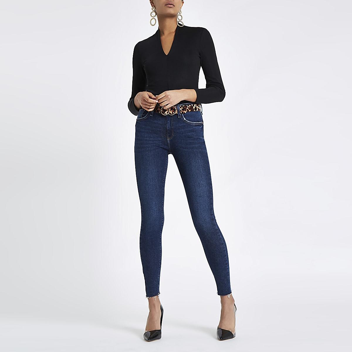 Black V neck fitted long sleeve bodysuit