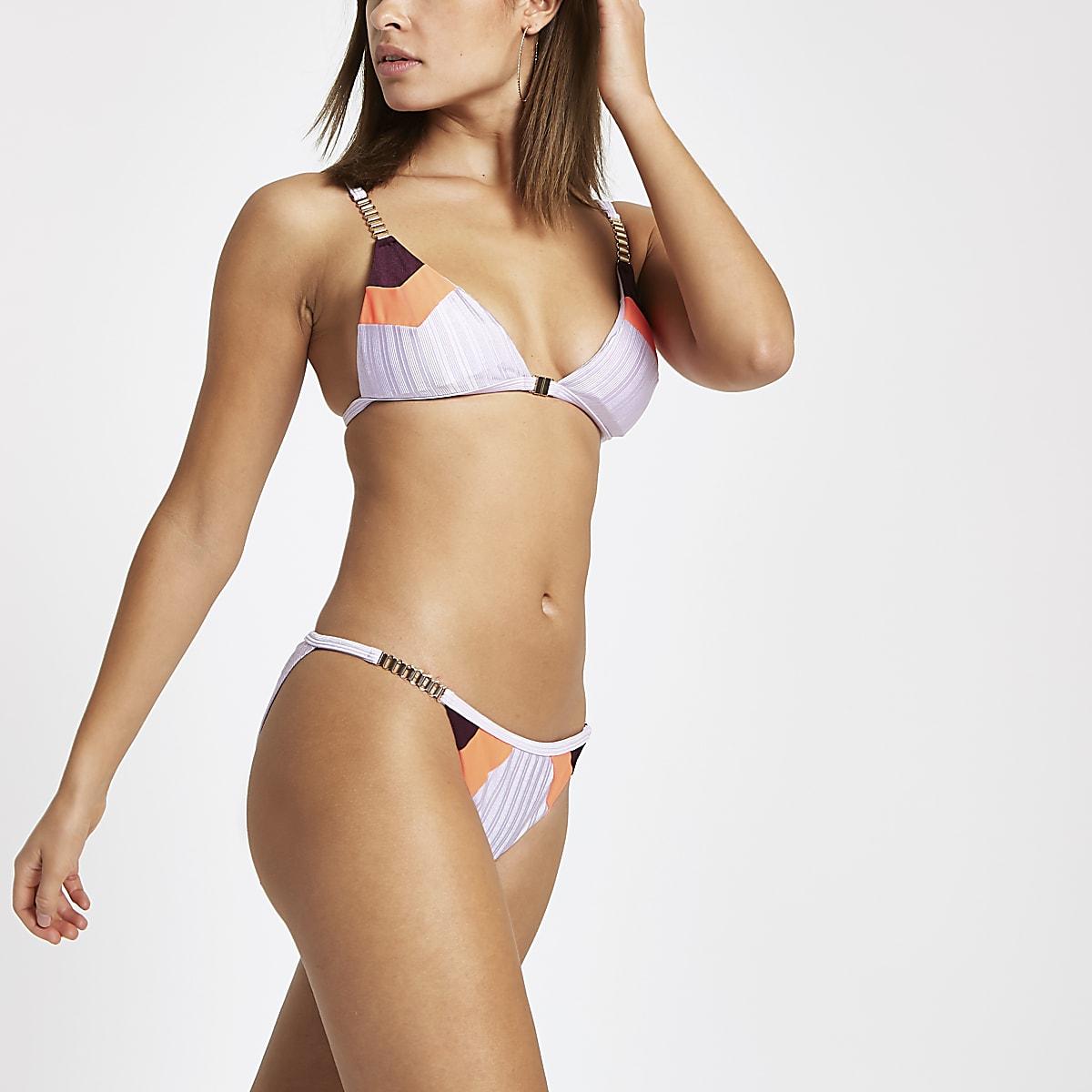 Lila laag bikinibroekje met kleurvlakken