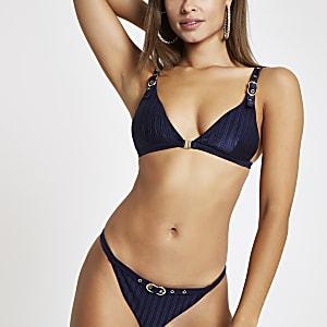 Haut de bikini triangle bleu marine à boucle