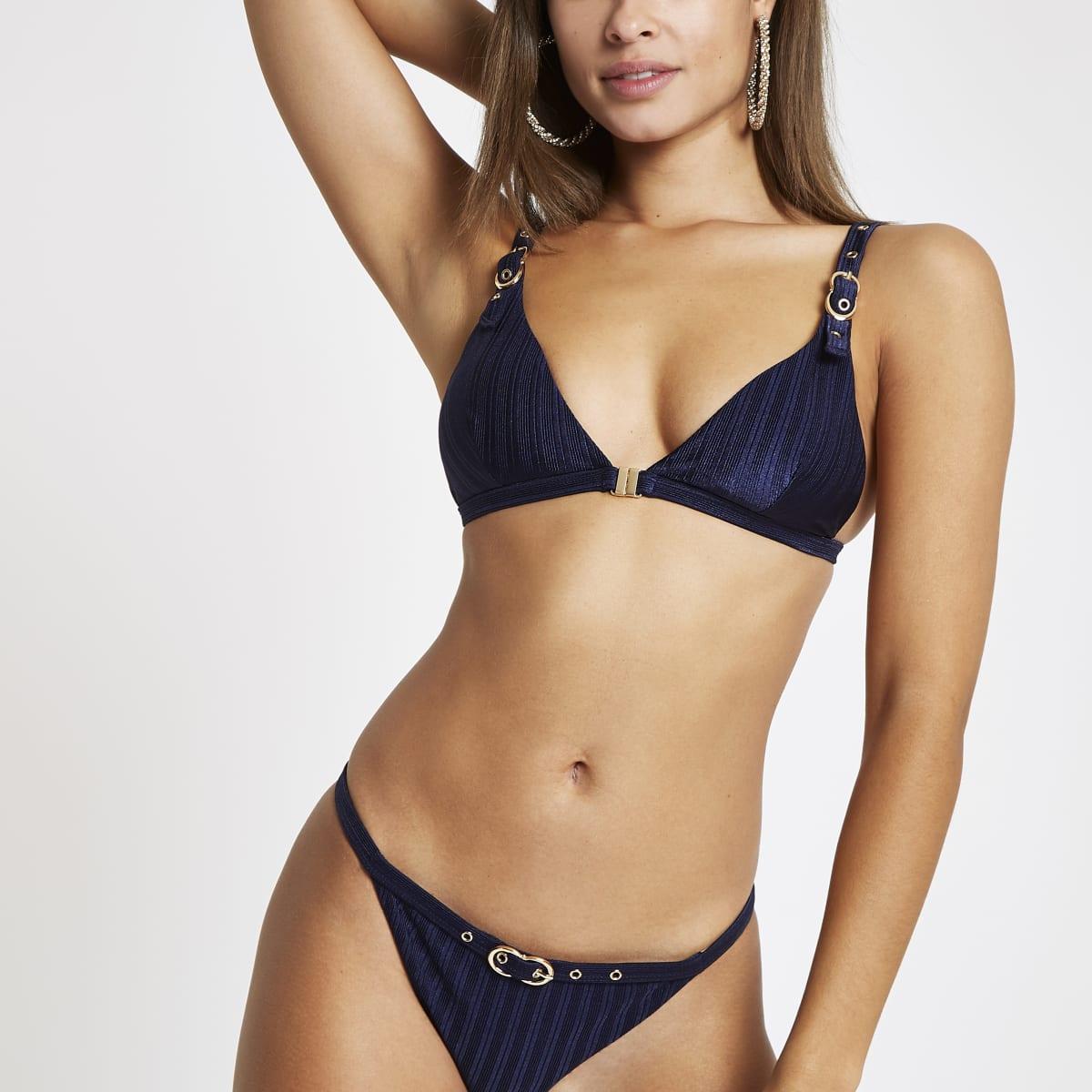Navy buckle trim triangle bikini top