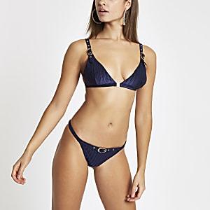 Bas de bikini échancré bleu marine à boucle
