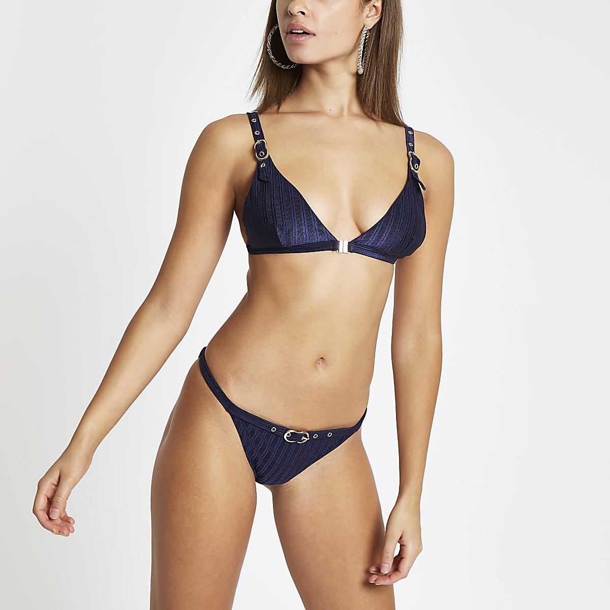 Navy buckle trim high leg bikini bottoms