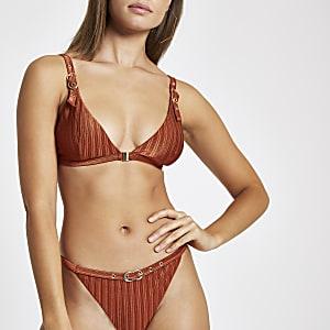 Haut de bikini triangle marron à boucle