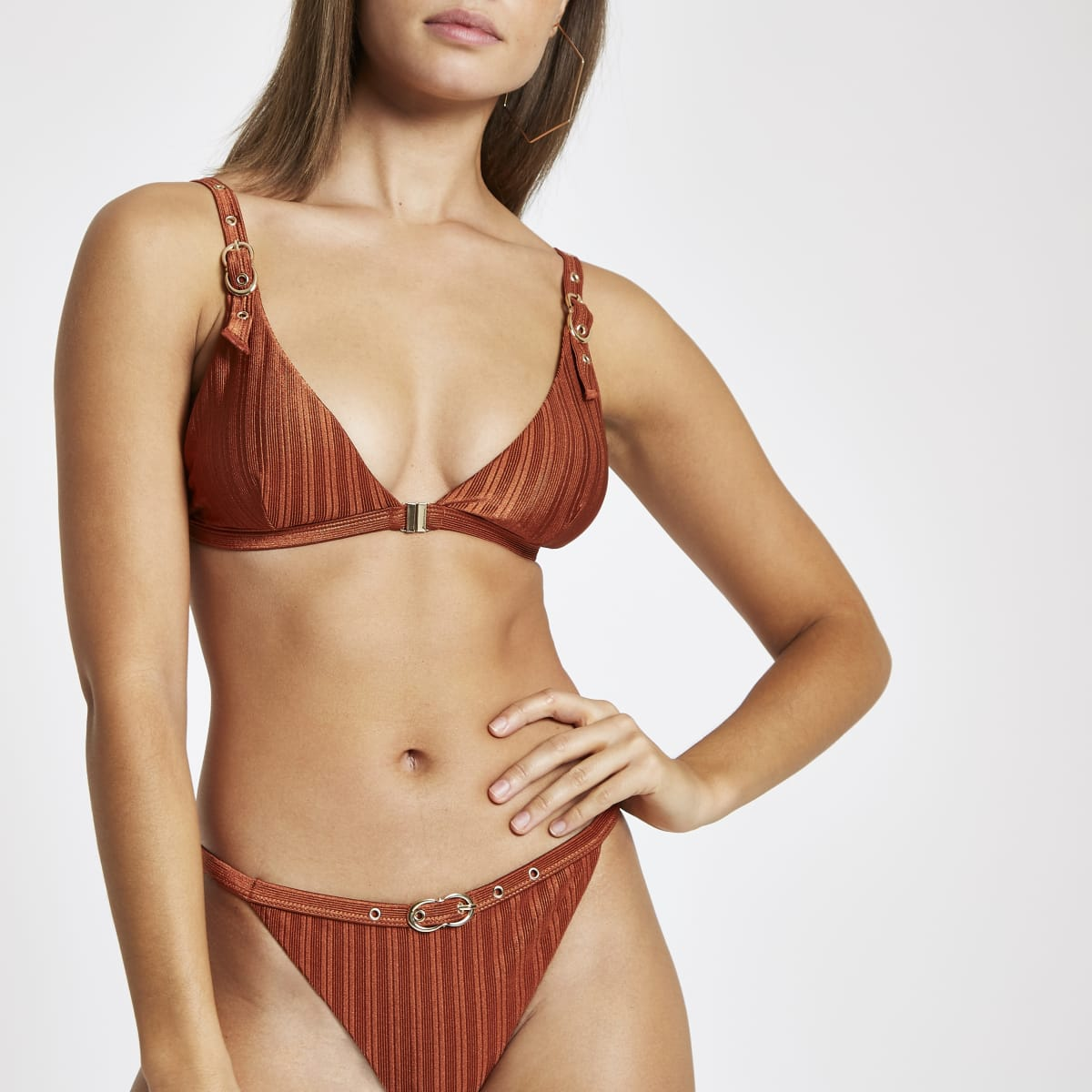 Brown buckle trim triangle bikini top