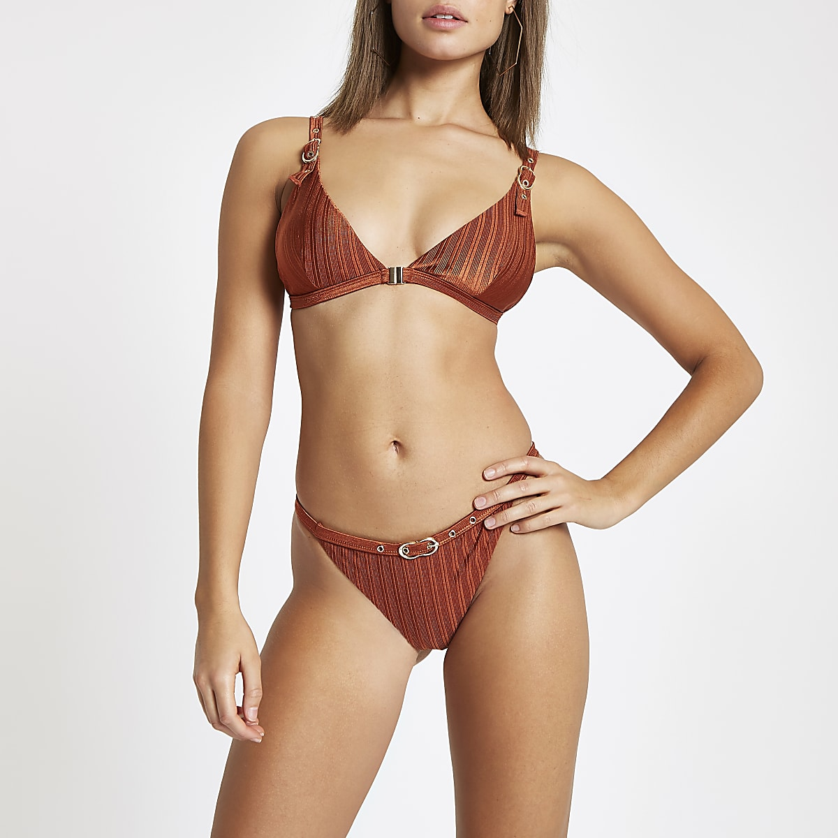 Brown buckle trim high leg bikini bottoms