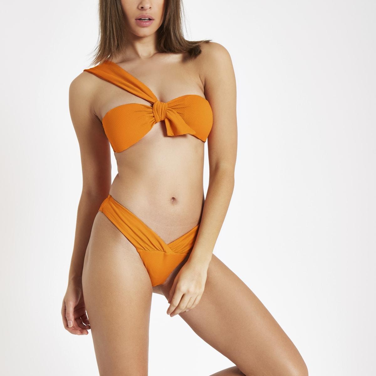 Orange textured knot front bikini top