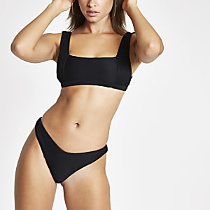 Black ribbed high leg bikini bottoms