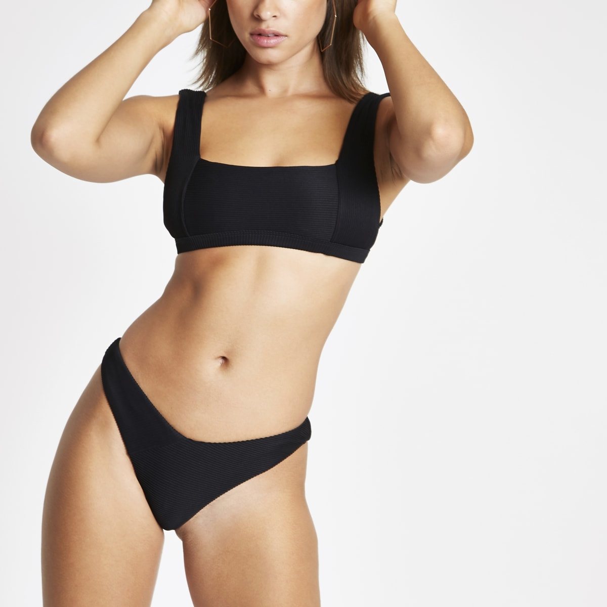 Black ribbed high leg bikini bottoms