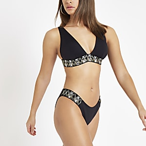 Black embellished high leg bikini bottoms