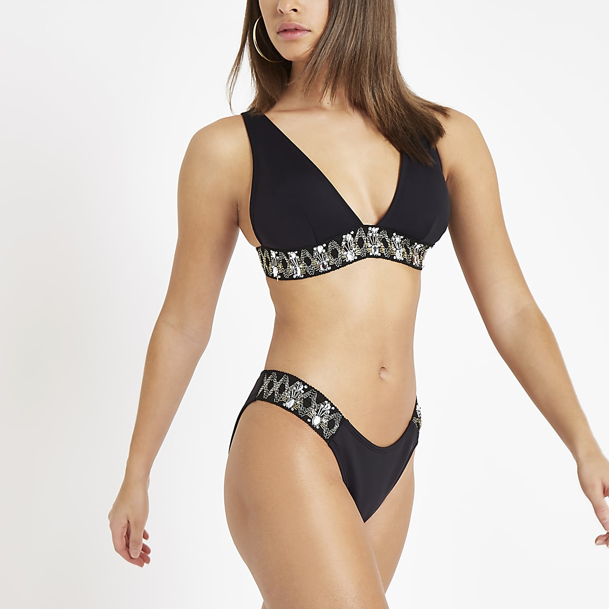 Black embellished high leg bikini bottoms