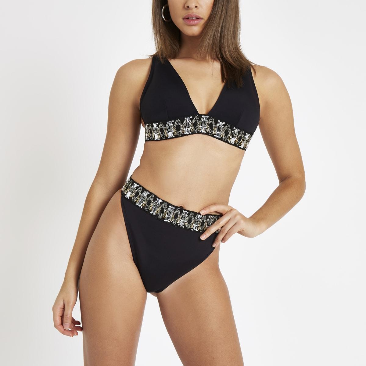 Bas de bikini noir orné taille haute