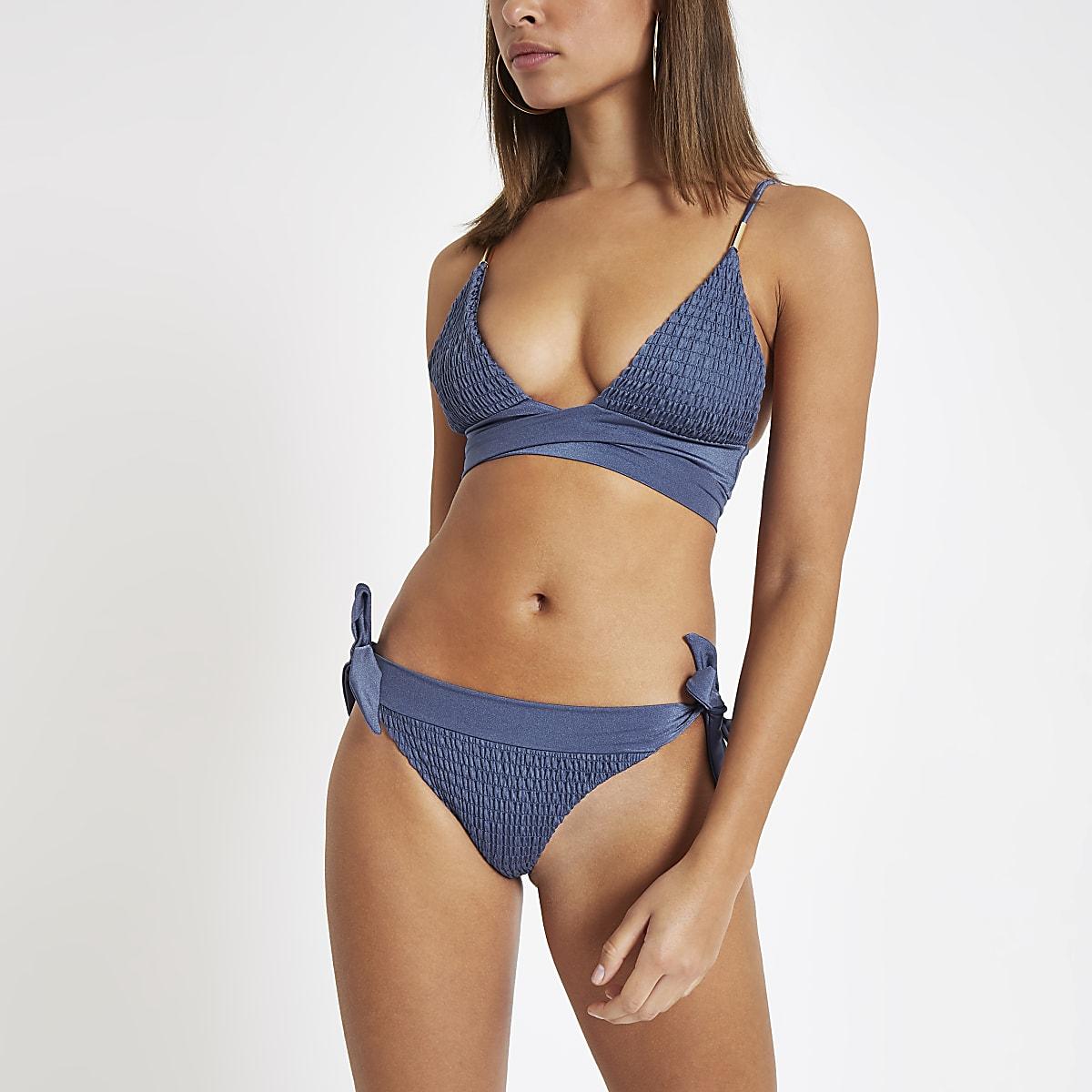 e0363ab11b2 Blue shirred tie front triangle bikini top - Bikini Tops - Bikinis -  Swimwear & Beachwear - women